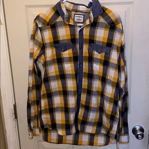Express Fitted Yellow Flannel Shirt